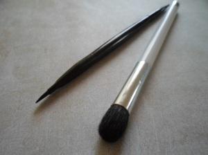 L to R: eBay Dual Eyeliner Brush - Sonia Kashuk Blending Brush