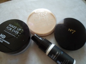 Clockwise: Makeup Forever HD Powder, Rimmel Stay Matte, Boots No7 Perfect Light, Skindinavia Makeup Finishing Spray