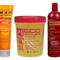Cantu Shea Butter For Natural Hair Conditioning Co-Wash, Creme of Nature With Argan Oil From Morocco Intensive Conditioning Treatment, and Eco Styler Argan Oil Styling Gel Initial Review